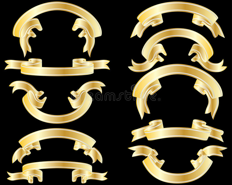Download Golden ribbons stock vector. Illustration of bows, flag - 8282761