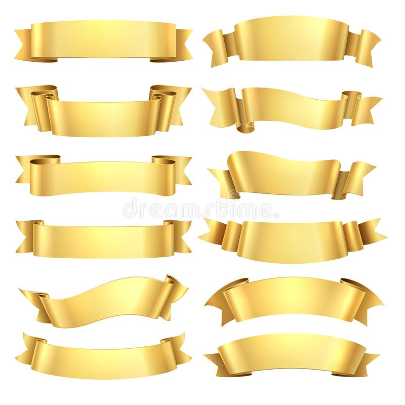 Golden ribbons. Congratulations banner element, yellow gift decorative shape, gold advertising scroll. Vector realistic vector illustration