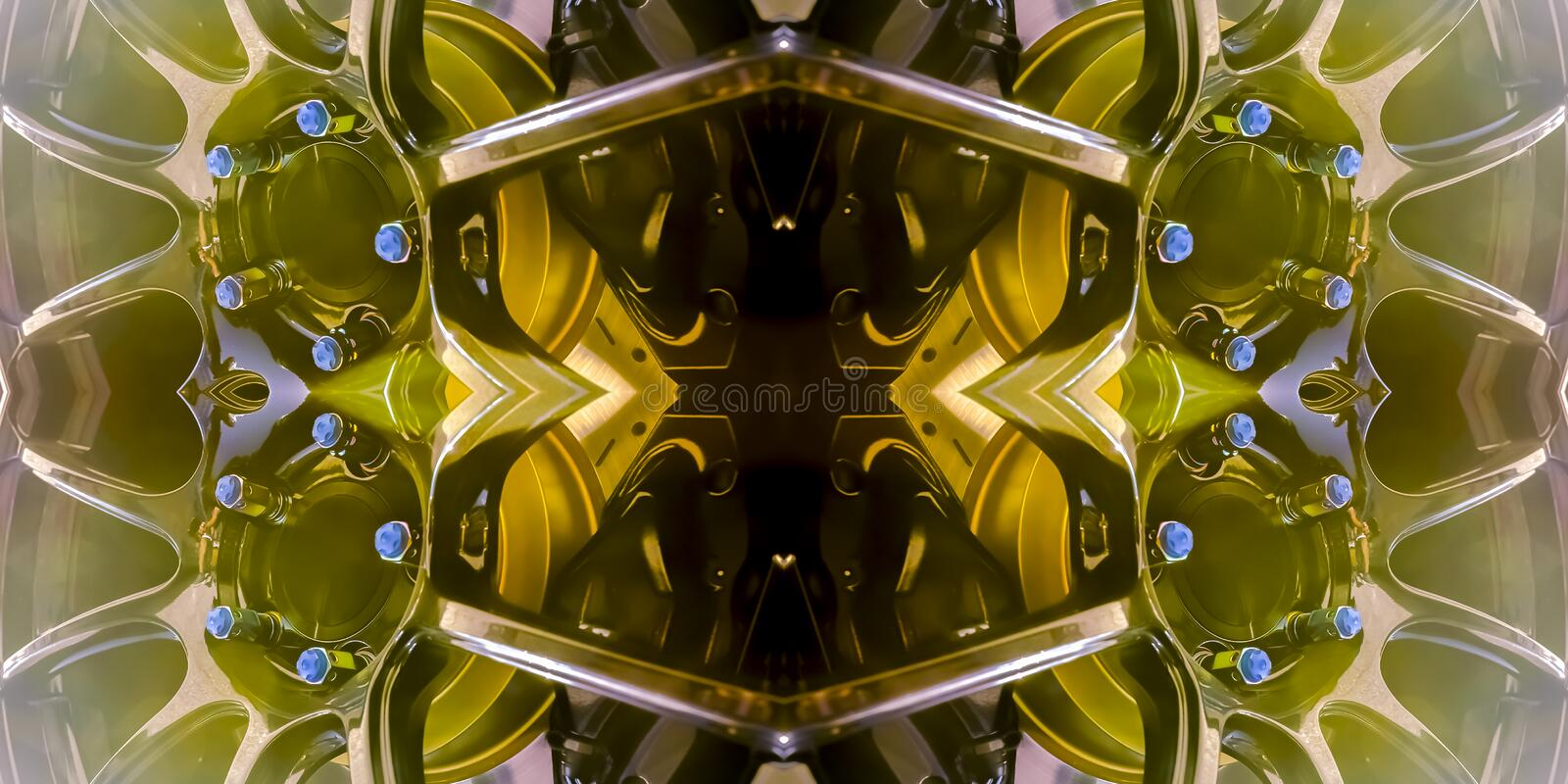 Golden rims of sports car reflected in corners. Geometric kaleidoscope pattern on mirrored axis of symmetry reflection. Colorful shapes as a wallpaper for royalty free illustration