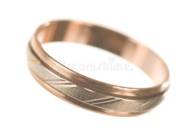 Golden ring. Wedding golden ring on white stock photography
