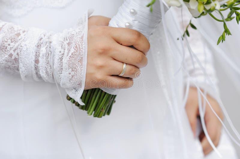 Golden ring on bride s finger