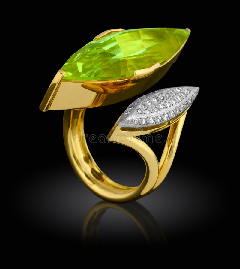 Golden ring with diamond royalty free stock photography