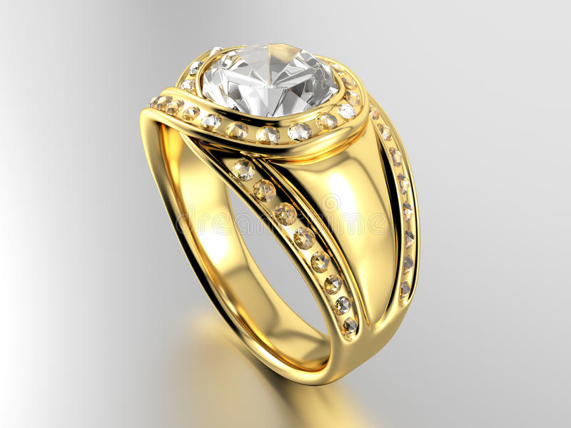 Golden Ring with Diamond. On white background. 3D image stock photo