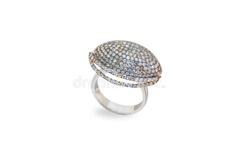 Golden ring with diamonds stock image