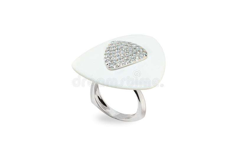 Golden ring with diamonds royalty free stock image