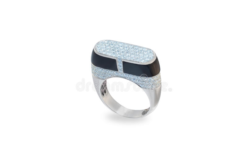 Golden ring with diamonds royalty free stock images