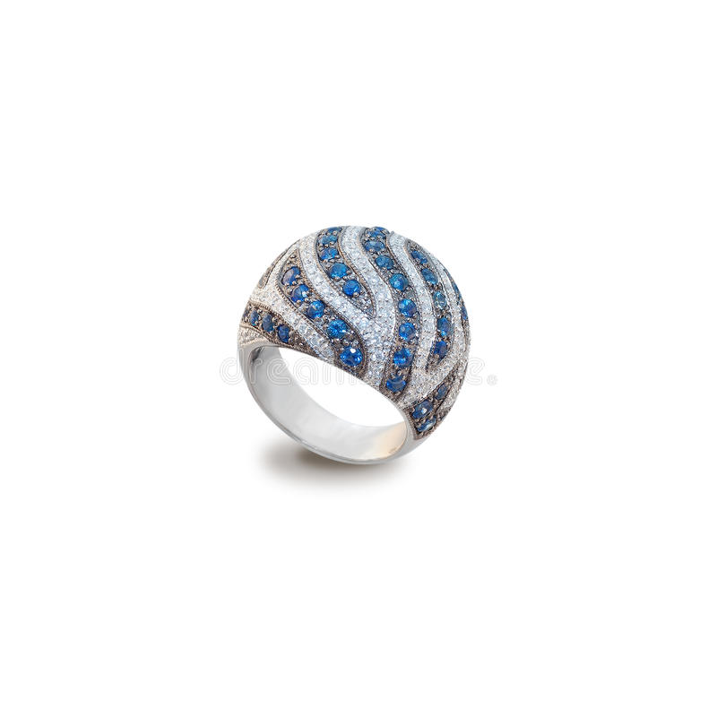 Golden ring with diamonds and sapphires stock images