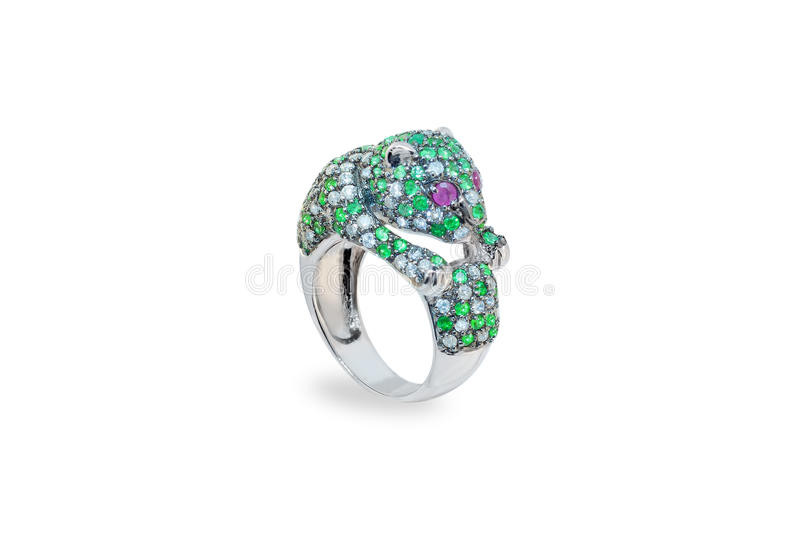 Golden ring with emeralds and diamonds stock images
