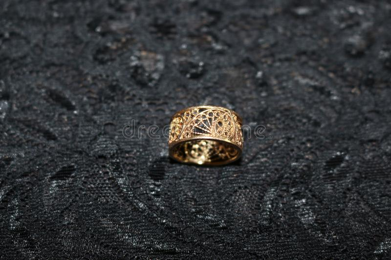 Golden ring of fine work royalty free stock images