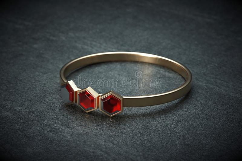 Golden ring isolated in the closeup. 3d Illustration royalty free illustration