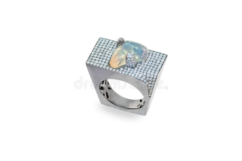 Golden ring with opal and diamonds royalty free stock photos