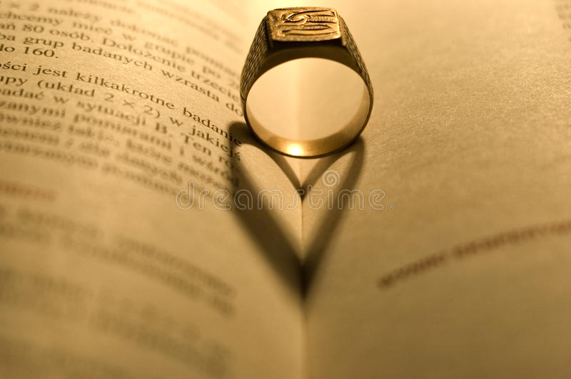Download Golden Ring In The Open Book Stock Image - Image: 9994123