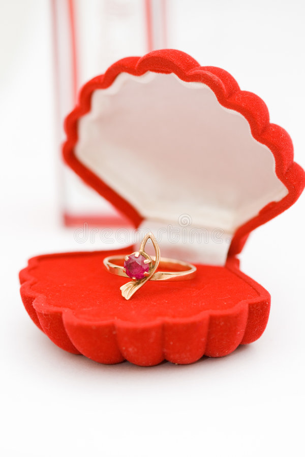 Golden ring with red stone royalty free stock photos