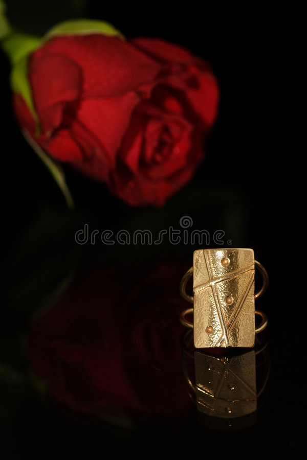 Golden Ring And Rose Royalty Free Stock Images