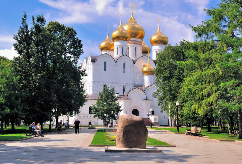 Golden Ring of Russia, Yaroslavl. New Assumption Cathedral. At the UNESCO world heritage site in the historic part of the city (Memorial stone at the site of stock image
