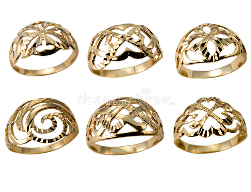 Golden rings isolated on white stock photo