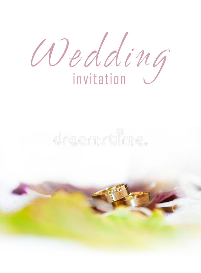 Golden rings on a wedding invitation. Golden rings with foliage on a wedding invitation royalty free stock image