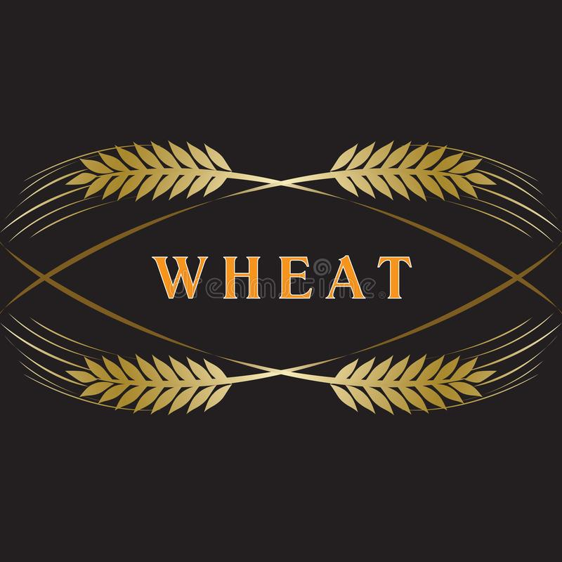 Golden ripe wheat ears on black background. Vector decorative element for label design, brand icon or logo template royalty free illustration