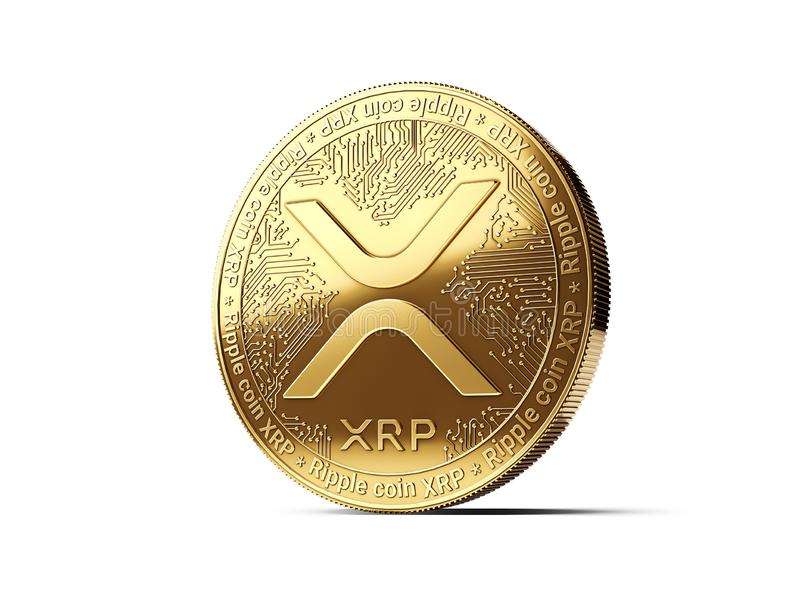 Golden Ripple XRP cryptocurrency physical concept coin isolated on white background. 3D rendering. Golden Ripple XRP cryptocurrency physical concept coin vector illustration