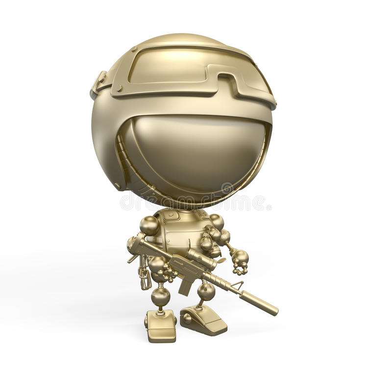 Download Golden Robot - Soldier With Gun And Grenades Stock Illustration - Illustration of equipment, cartoon: 15703959
