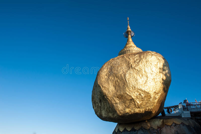 Golden rock. Kyaiktiyo pagoda, Golden rock, That sits atop Mount Kyaiktiyo is one of the most sacred sites in Kyaikhtiyo of Mon state in Myanmar.The pagoda is royalty free stock photo