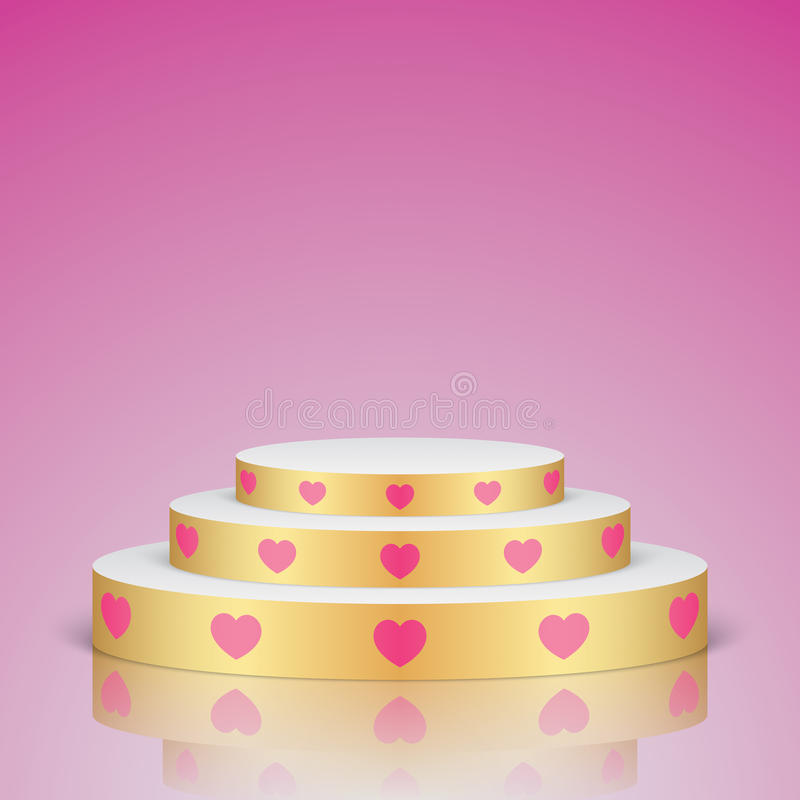Golden romantic scene with pink hearts. Golden vector stage with white stairs and pink hearts, on a pink background. Oval romantic scene for your valentines day vector illustration