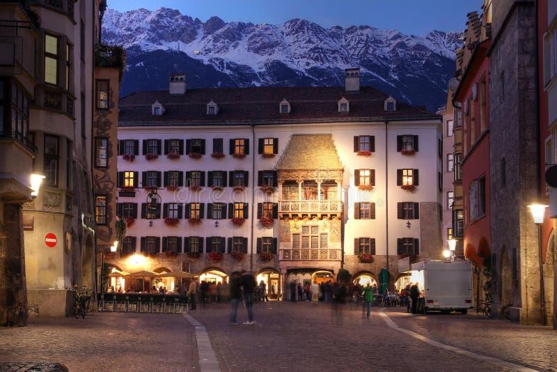 Golden Roof (Goldenes Dachl), Innsbruck, Austria. The symbol of Innsbruck, Austria, the Golden Roof (or in german Goldenes Dachl) is an oreil window added in royalty free stock photos