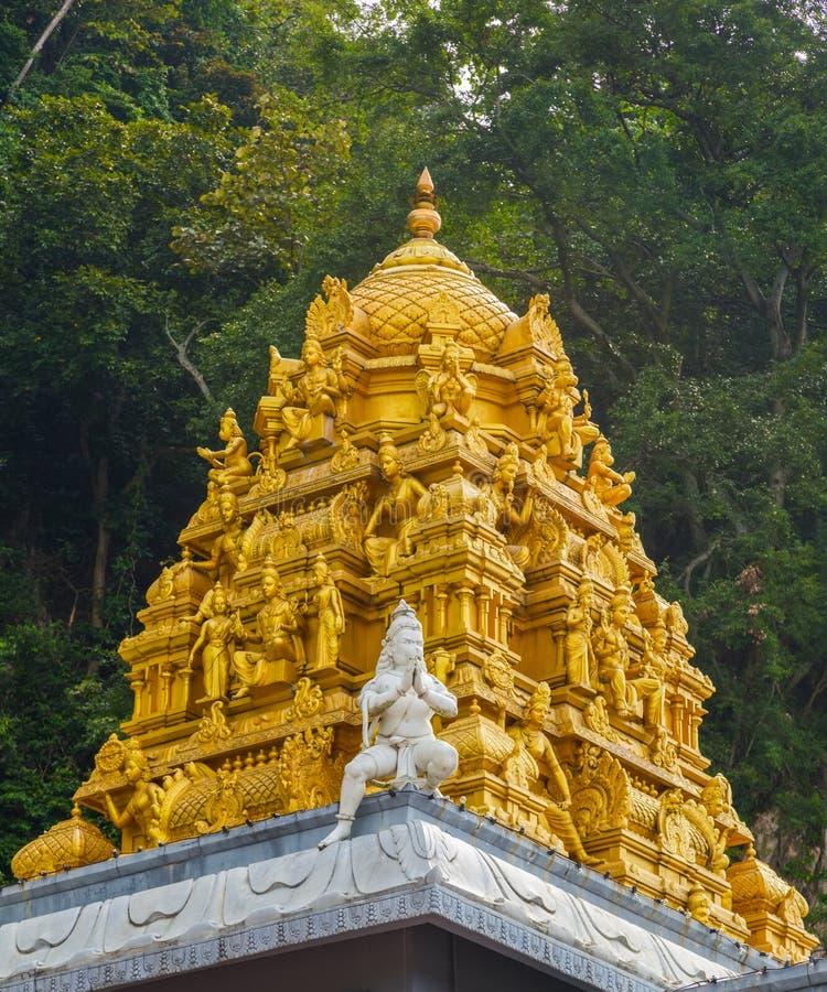 Golden roof on Indian temple in Batu Caves, Kuala Lumpur. Golden roof on Indian temple in Batu Caves, Sri Subramaniar Temple at Batu Caves Exterior Kuala Lumpur stock image