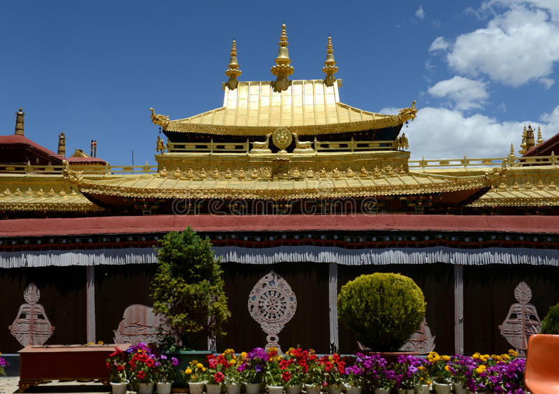 Golden roof of Jokhang Monastery. In Lhasa. Located in the center of the ancient city of Lhasa, the Jokhang Monastery was built in the seventh century. Jokhang stock photography