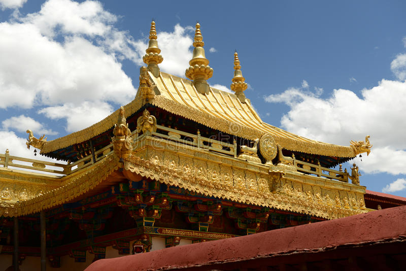 Golden roof of Jokhang Monastery. In Lhasa. Located in the center of the ancient city of Lhasa, the Jokhang Monastery was built in the seventh century. Jokhang stock images
