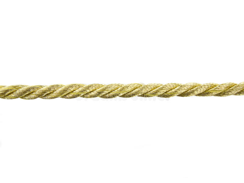 Golden rope. On white background stock images