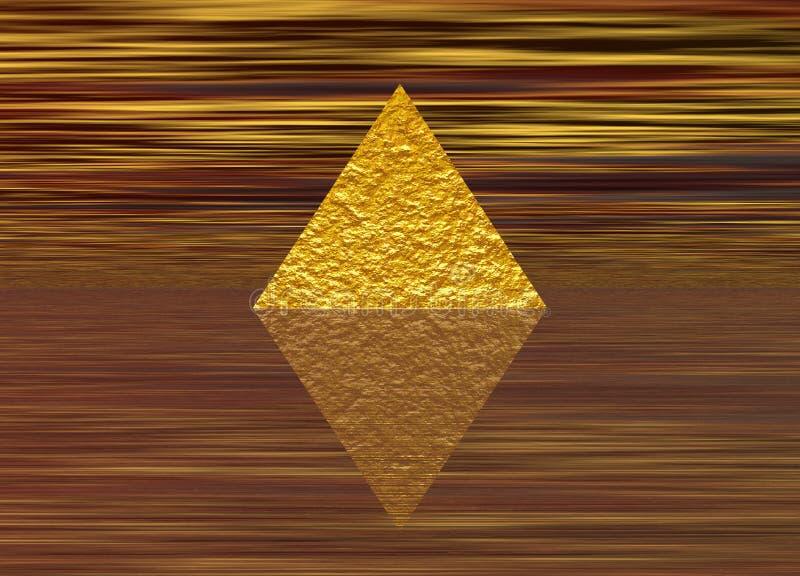Golden Rough Pyramid on Stripes. Gold Golden Rough Pyramid on Stripes with Reflection stock illustration