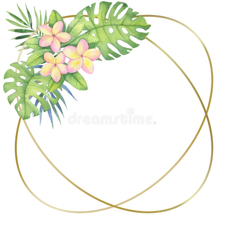 Golden round frame with tropical flowers and leaves. Watercolor illustration for invitations, holiday cards stock illustration