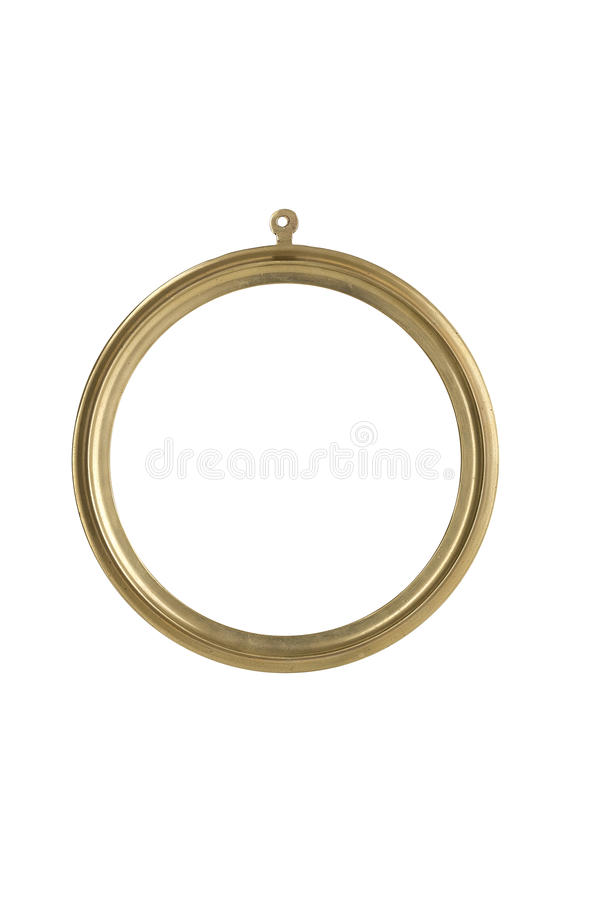 Golden, round metallic picture frame stock photo