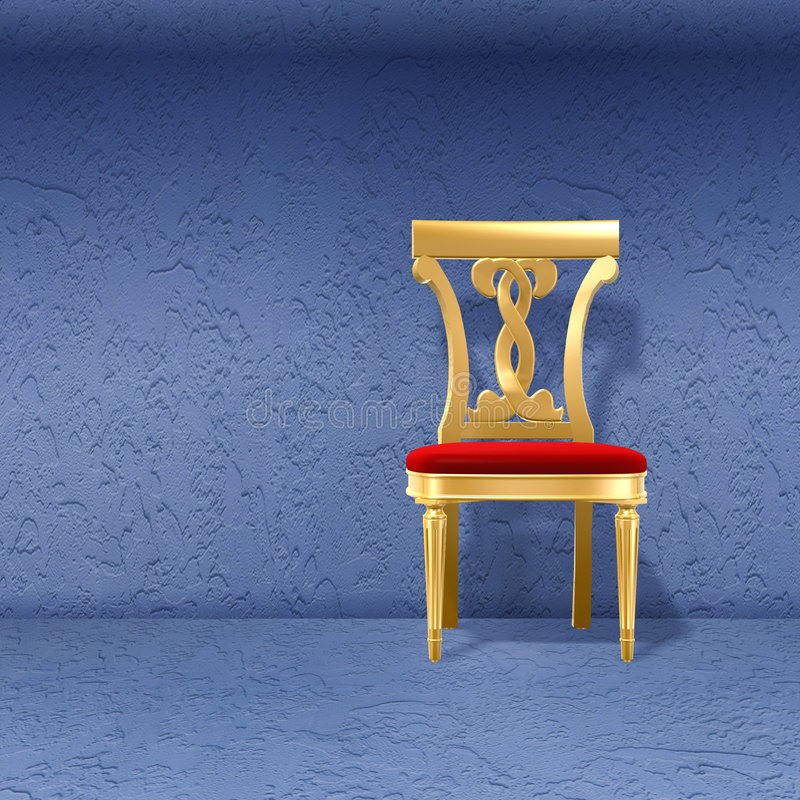 Golden royal chair against wal stock illustration