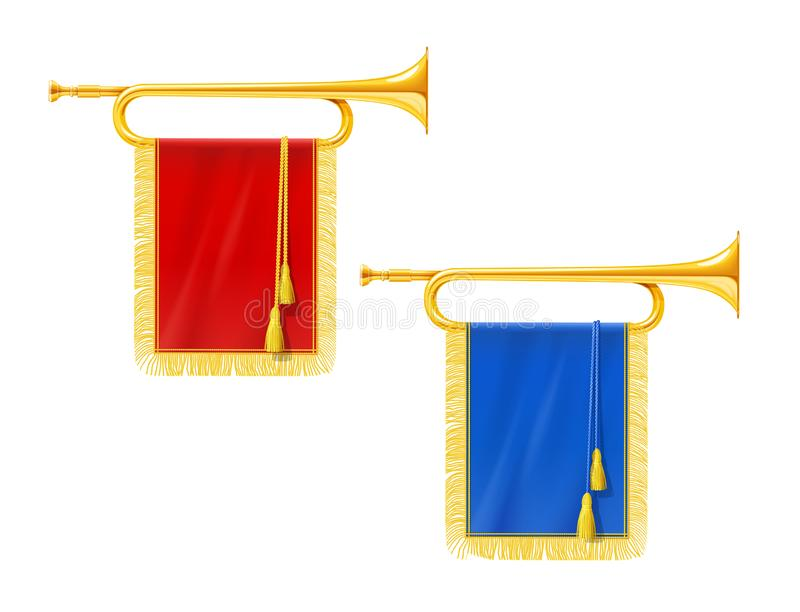 Golden royal horn trumpet with blue and red banner. Musical instrument for king orchestra. Gold Royal fanfare for play music. Isolated white background. EPS10 vector illustration