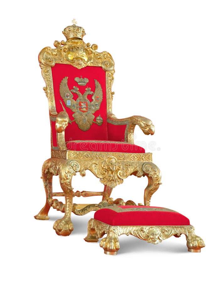 Golden royalty's Throne. Isolated with path royalty free stock photo
