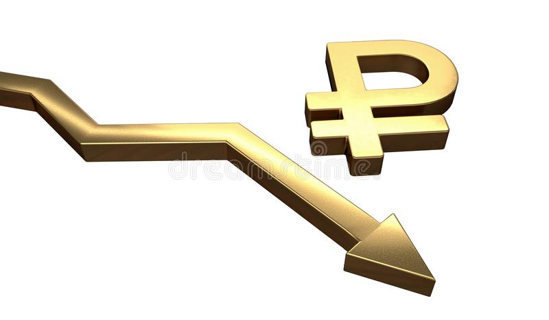 Golden ruble symbol and arrow down. Isolated on white background. 3D rendered illustration.  royalty free illustration