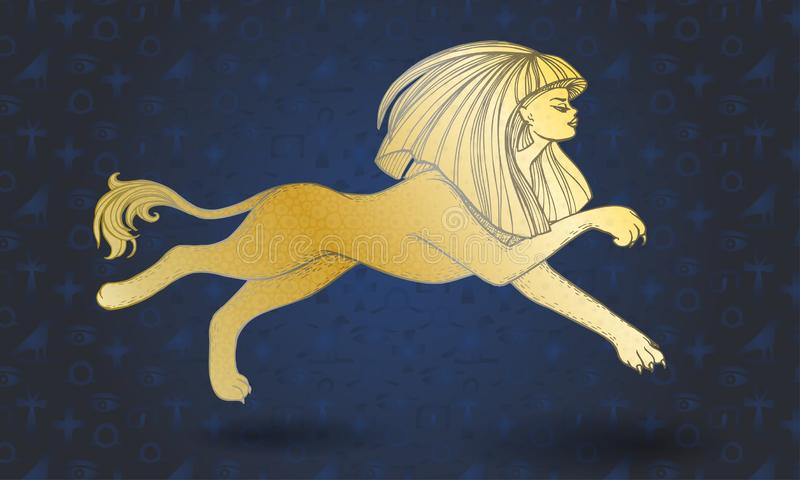 Golden running sphinx on blue background with hieroglyphs royalty free illustration
