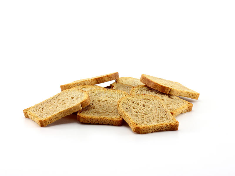 Golden rusk slices stock images