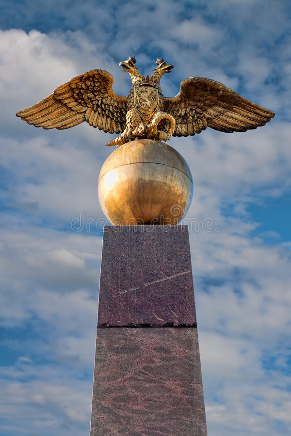 Golden russian two-headed eagle royalty free stock images