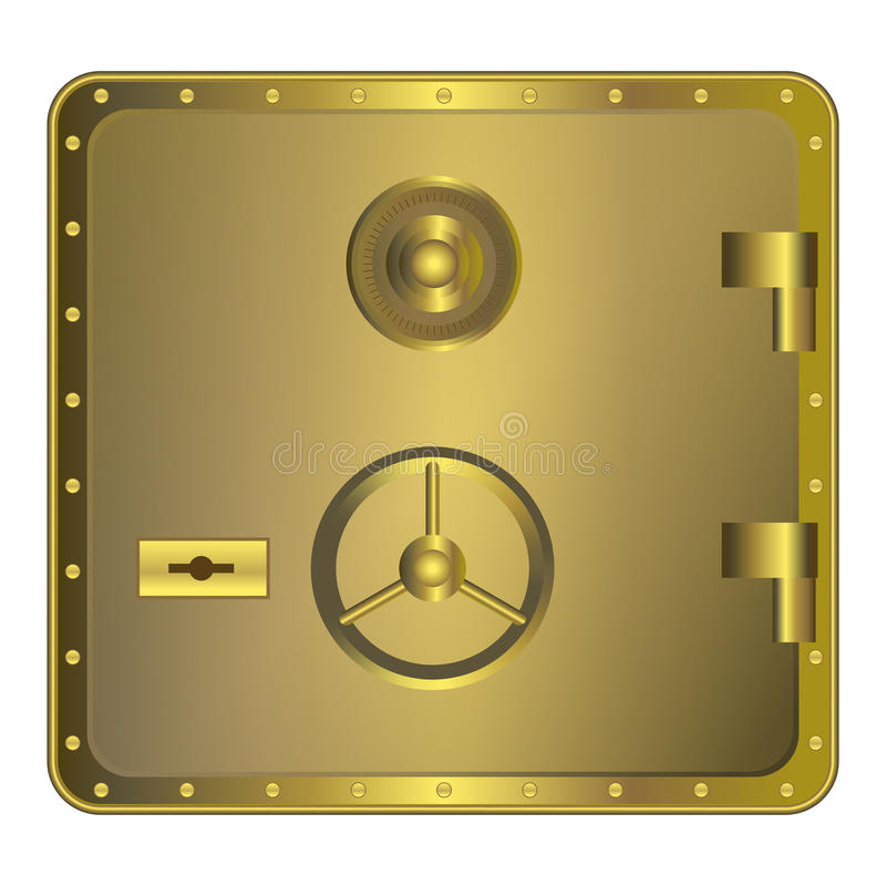 Golden safe with dial vector illustration