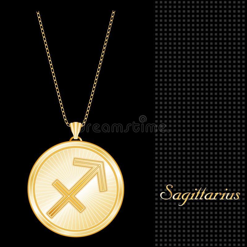 Golden Sagittarius Pendant Necklace