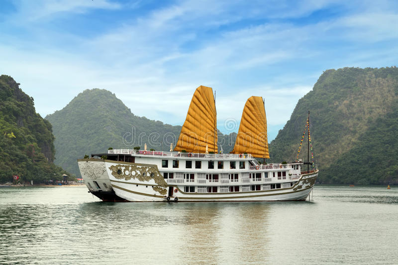 Golden sail Ha Long Bay, Vietnam. royalty free stock photo