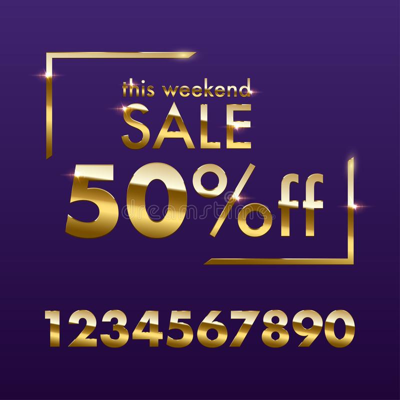 Golden Sale sign template. Vector golden This weekend Sale text with numbers for discount offer isolated on purple. Background vector illustration