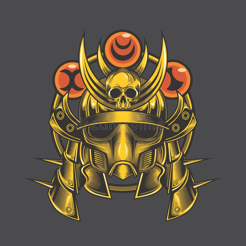 Golden samurai head royalty free stock images