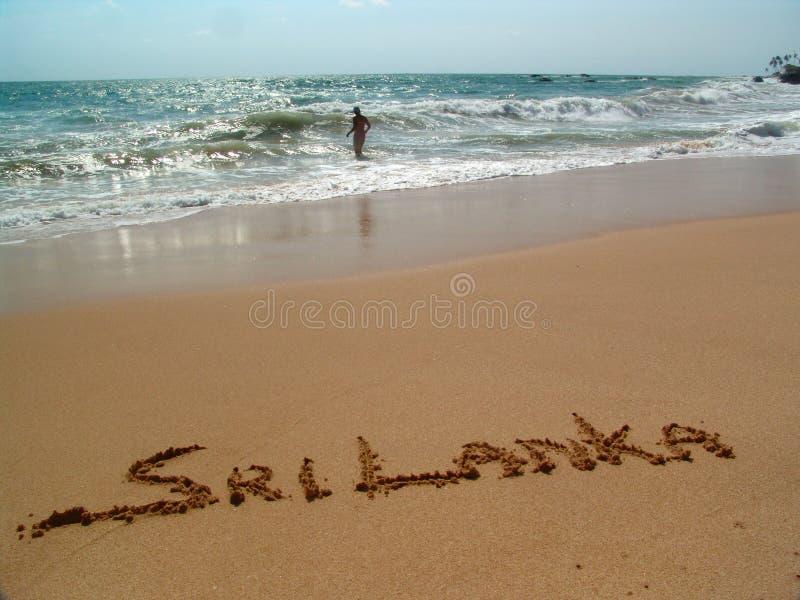 Sri Lanka. Golden sand on the beach Ambalangoda in Sri Lanka stock image