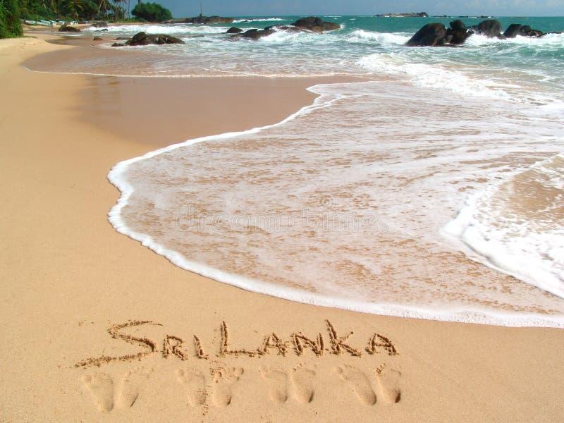 Sri lanka. Golden sand on the beach Ambalangoda in Sri Lanka royalty free stock photos