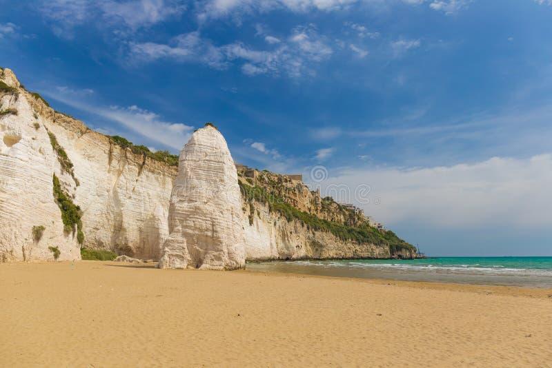 Golden sand beach of Vieste with Pizzomunno rock, Gargano peninsula, Apulia, South of Italy. Golden sand beach of Vieste with Pizzomunno rock, typical white royalty free stock photo