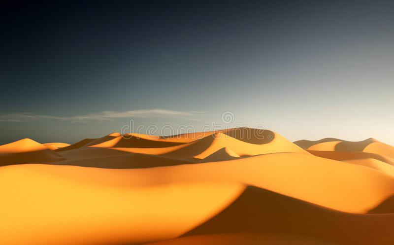 Golden Sand Dunes and Clear Skies stock images